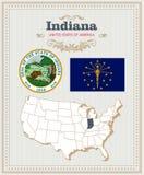 El alto vector detallado fijó con la bandera, escudo de armas, mapa de Indiana Cartel americano Tarjeta de felicitación libre illustration