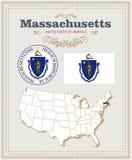 El alto vector detallado fijó con la bandera, escudo de armas, mapa de Massachusetts Cartel americano Tarjeta de felicitación stock de ilustración