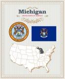 El alto vector detallado fijó con la bandera, escudo de armas, mapa de Michigan Cartel americano Tarjeta de felicitación ilustración del vector