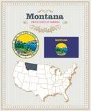 El alto vector detallado fijó con la bandera, escudo de armas, mapa de Montana Cartel americano Tarjeta de felicitación Imagenes de archivo