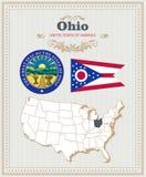 El alto vector detallado fijó con la bandera, escudo de armas, mapa de Ohio Cartel americano Tarjeta de felicitación libre illustration