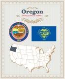 El alto vector detallado fijó con la bandera, escudo de armas, mapa de Oregon Cartel americano Tarjeta de felicitación ilustración del vector