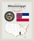 El alto vector detallado fijó con la bandera, escudo de armas Mississippi Cartel americano Tarjeta de felicitación ilustración del vector