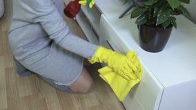 El ama de casa limpia la superficie de los muebles del polvo metrajes