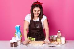 El ama de casa o el panadero feliz lleva el delantal de la cocina sucio con la harina, camiseta blanca, venda roja, sostiene el r fotos de archivo