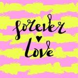 El ` ama para siempre letras del VECTOR del ` en fondo rayado Imágenes de archivo libres de regalías