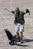 El amaestrador realiza la demostración del pájaro con el buitre Imágenes de archivo libres de regalías