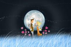 El amante en noche de la Luna Llena stock de ilustración