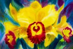El amarillo abstracto de pintura de la acuarela, color rojo de la orquídea florece stock de ilustración