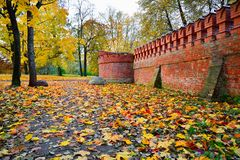El amarillo del otoño se va en la tierra en un fondo del ladrillo rojo Foto de archivo libre de regalías