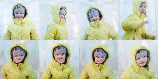 El amarillo feliz del ijn de Giel presenta detrás del pedazo grueso de hielo foto de archivo