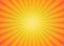 El amarillo irradia arte pop del fondo ilustración del vector