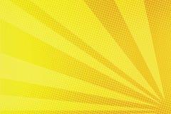 El amarillo irradia el fondo cómico del arte pop ilustración del vector