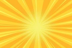 El amarillo irradia el fondo retro de los tebeos ilustración del vector