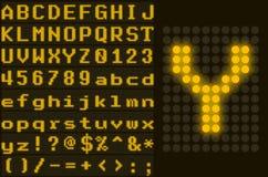 El amarillo punteó el sistema de la letra de la pantalla LED Imagen de archivo libre de regalías