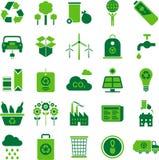 El ambiente verde y recicla iconos Imagen de archivo libre de regalías