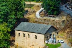 El americano Electric Power coloca y contiene en el río de Roanoke fotos de archivo libres de regalías