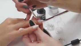 El amo de la manicura hace una manicura en los clavos de una mujer Primer de la aplicación femenina hermosa de las manos transpar metrajes