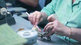 El amo de la mujer limpia la prótesis dental instalada en órgano articulador del alambre metrajes