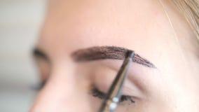 El amo del Cosmetologist está dibujando maquillaje negro en las cejas para el cliente de la mujer joven 4K encanto M.U.A., a cáma almacen de metraje de vídeo