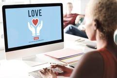 El amor adora la emoción del cuidado como concepto romántico cariñoso Foto de archivo