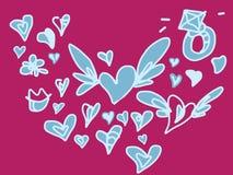 El amor coloreado de la tarjeta del día de San Valentín y el garabato dibujado mano de la boda fijaron con las alas Fotografía de archivo libre de regalías