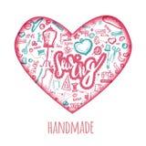 El amor de costura garabatea el ejemplo en la forma del corazón Logotipo de Handicrafted con la aguja, máquina de coser, perno de Fotografía de archivo libre de regalías