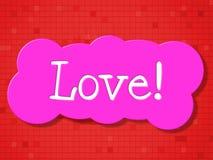 El amor de la muestra muestra el mensaje y la datación de la dedicación ilustración del vector