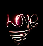 El amor de la palabra de las luces Imágenes de archivo libres de regalías