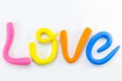 el amor de la palabra en el alfabeto colorido para la tarjeta del día de San Valentín Fotografía de archivo