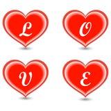 El amor de la palabra en corazones Fotografía de archivo libre de regalías