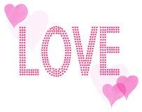 El amor de la palabra poco pintó corazones rojos y rosados Fotografía de archivo
