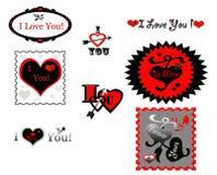 El amor de la tarjeta del día de San Valentín sella iconos de las etiquetas engomadas Fotos de archivo libres de regalías