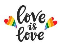 El amor es lema del amor Gay, mano lesbiana escrita poniendo letras al cartel ilustración del vector