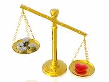 El amor es más querido que el dinero ilustración del vector