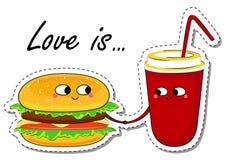 El amor es… marcador del rosa en el fondo blanco En etiqueta engomada de la comida del amor Imágenes de archivo libres de regalías