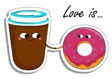 El amor es… marcador del rosa en el fondo blanco En etiqueta engomada de la comida del amor Foto de archivo