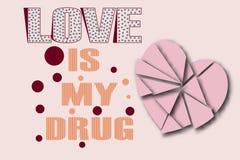 El amor es mi corazón de la droga Fotografía de archivo libre de regalías