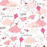 El amor está en el modelo del ` s de la tarjeta del día de San Valentín del aire ilustración del vector