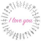 El amor florece el marco de los dulces en un círculo Foto de archivo libre de regalías