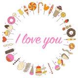 El amor florece el marco de los dulces en un círculo Fotografía de archivo