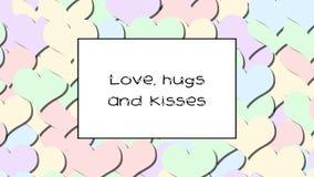 El amor, los abrazos y los besos aman la tarjeta con los corazones en colores pastel como fondo, enfocan adentro almacen de metraje de vídeo
