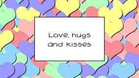 El amor, los abrazos y los besos aman la tarjeta con los corazones en colores pastel del arco iris como fondo, enfocan adentro almacen de video
