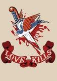 El amor mata el tatuaje Fotografía de archivo libre de regalías