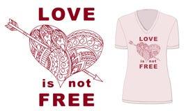 El amor no está libre con el corazón modelado Foto de archivo libre de regalías