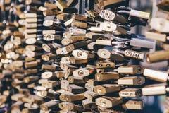 El amor padlocks la cerca del puente Foto de archivo libre de regalías