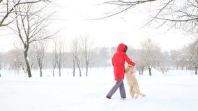El amor para los animales domésticos - las danzas alegres de una mujer y se divierte con su perro en un parque nevado del inviern metrajes