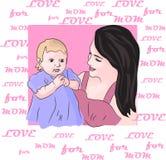 El amor para los ejemplos del nombre de la mamá representa la mamá y a la hija stock de ilustración