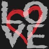 El amor y el corazón verticales del texto siluetean exhausto de un cepillo áspero Fotos de archivo