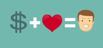 El amor y el dinero le hace feliz Imágenes de archivo libres de regalías
